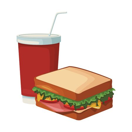 sandwich and drink cup icon over white background, vector illustration