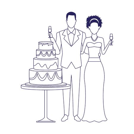 married couple and wedding cake icon over white background, vector illustration 免版税图像 - 140090822