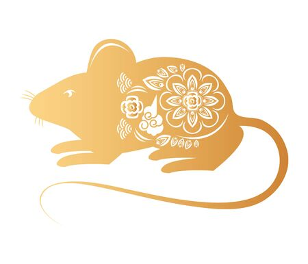 cute little mouse with floral pattern vector illustration design