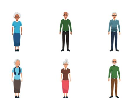 Cartoon old people icon set over white background, vector illustration