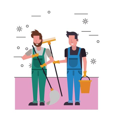 housekepping male workers with equipment characters vector illustration design