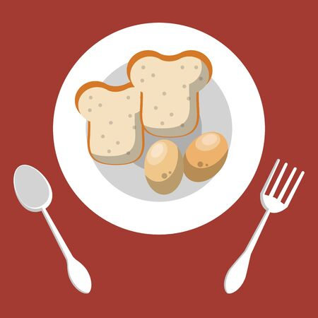 dish and cutleries with bread and eggs vector illustration design