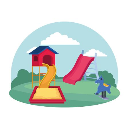 kids zone, playground equipment slide sandbox spring horse vector illustration
