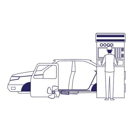 car repair service design of car body and mechanic at scanner over white background, flat design, vector illustration Stock Illustratie