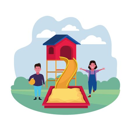 kids zone, boy and girl with ball slide sandbox playground vector illustration
