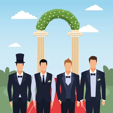 Weeding grooms standing over floral arch and landscape background, colorful design, vector illustration