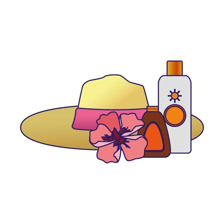 beach hat with flower and sun bronzers bottles over white background, colorful design, vector illustration