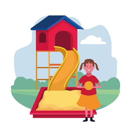 kids zone, happy girl with ball slide sandbox playground vector illustration