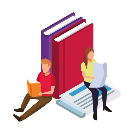 man and woman reading around of big books and newspaper over white background, vector illustration