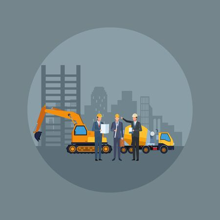under construction scenery with engineers and construction trucks over gray background, colorful design, vector illustration