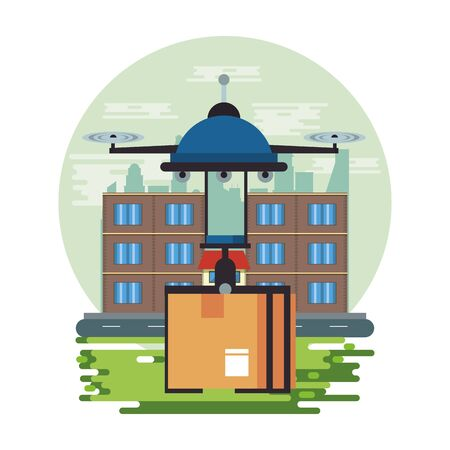 La technologie des drones volant avec une boîte sur la conception d'illustration vectorielle de la ville