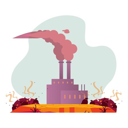 factory with polluting chimneys scene vector illustration design