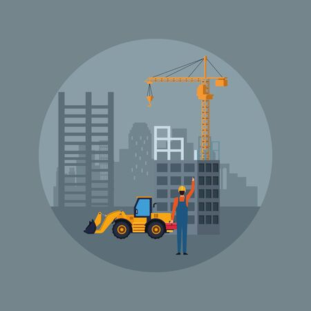 under construction scenery with construction truck and builder over gray background, colorful design, vector illustration