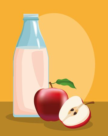 farming milk bottle and fresh apple cutting vector illustration Çizim