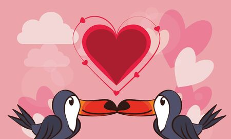 happy valentines day card with cute toucan couple vector illustration design 向量圖像