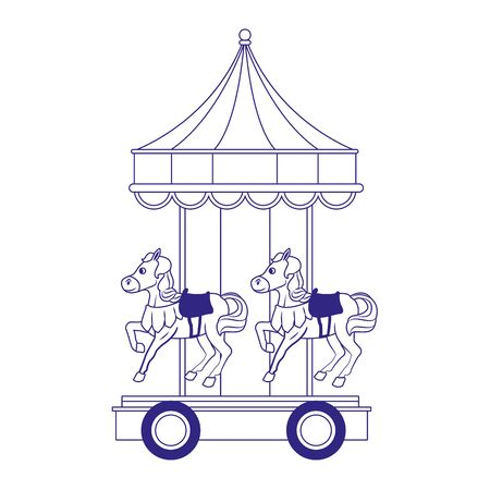 carnival horses carousel icon over white background, flat design, vector illustration Illustration