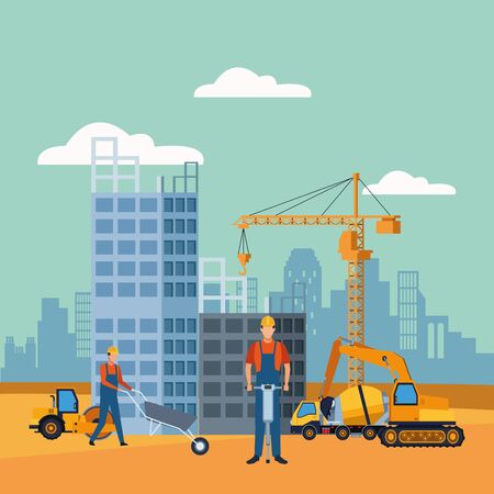 construction workers and trucks over under construction scenery, colorful design, vector illustration
