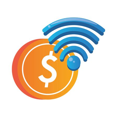 wifi connection signal with coin vector illustration design