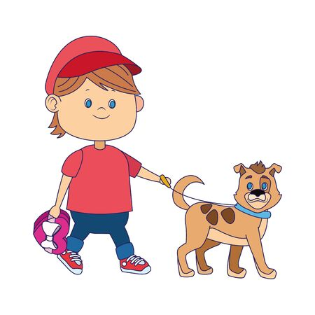 cartoon happy boy walking with cute dog over white background, vector illustration
