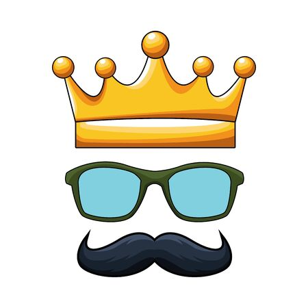 crown with glasses and mustache icon over white background, colorful design, vector illustration 向量圖像