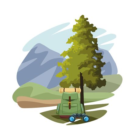 backpack and binoculars over mountains landscape and white background, colorful design, vector illustration