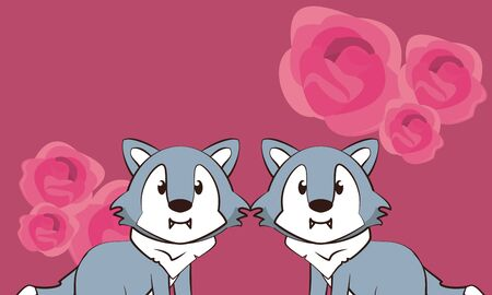 happy valentines day card with cute wolves couple vector illustration design Stock Illustratie