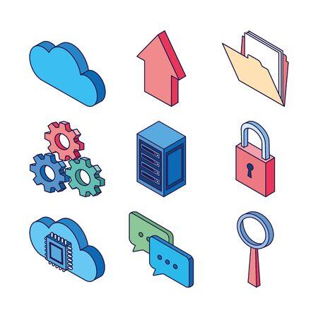 cloud computing gears magnifier folder circuit data server technology internet set icons vector illustration