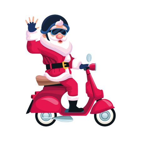 cool santa claus riding a motorcycle over white background, vector illustration Vectores