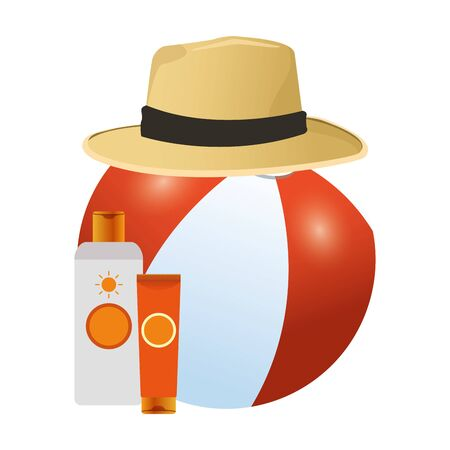 beach ball with hat and sunblocks bottles over white background, colorful design, vector illustration Illustration