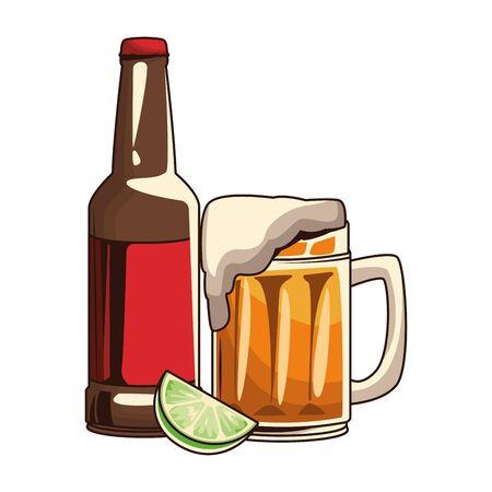beer mug and bottle icon over white background, vector illustration Ilustração