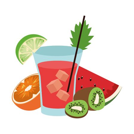 tropical fruits and liquor shot over white background, vector illustration 向量圖像