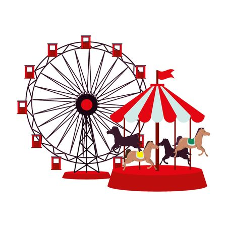 panoramic wheel and carrousel attractions vector illustration design