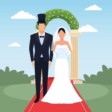Groom and bride standing over floral arch and landscape background, colorful design, vector illustration