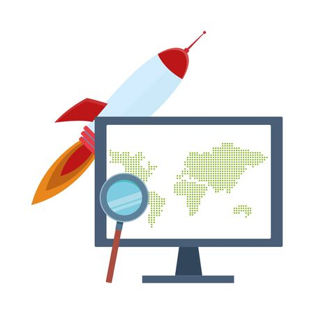space rocket and computer with magnifying glass over white background, colorful design, vector illustration