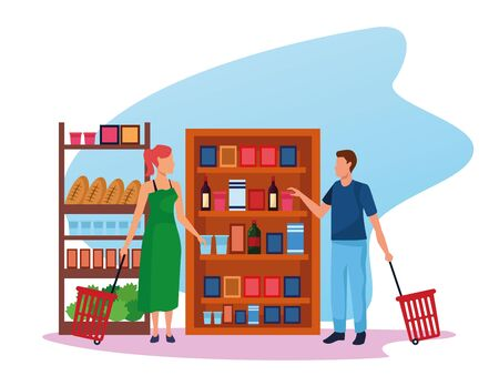 avatar woman and man at supermarket stands with groceries over white background, colorful design , vector illustration