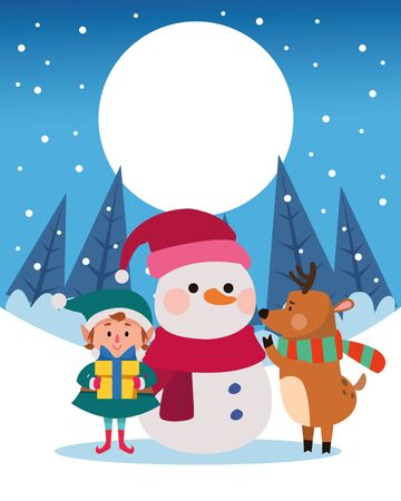 winter snowscape christmas scene with snowman vector illustration design Illustration