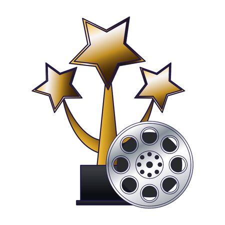 stars award and film reel icon over white background, flat design, vector illustration 일러스트