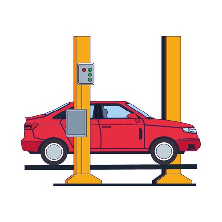 car repair service design of car on car lift over white background, vector illustration