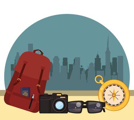 world travel scene with handbag and icons vector illustration design Ilustracja