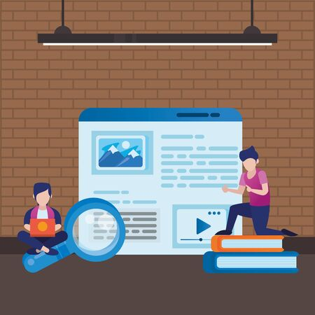 young men using laptop with web template vector illustration design Ilustracja