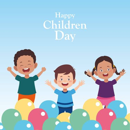 happy children day design with cartoon happy kids and colorful balloons over blue background, vector illustration