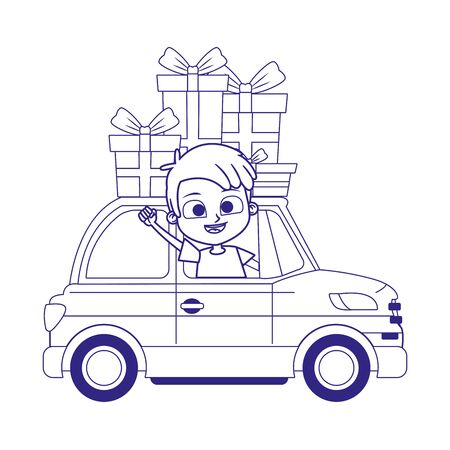 cartoon boy in a car with gift boxes over white background, vector illustration Ilustracja