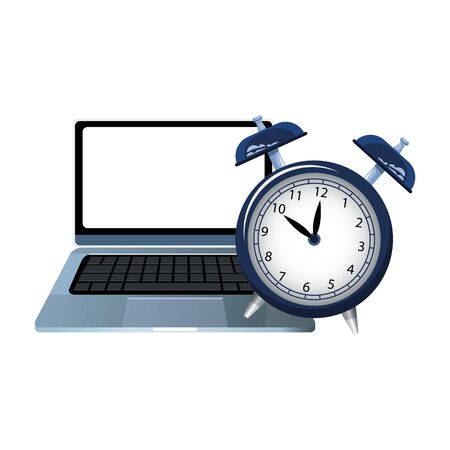 alarm clock and laptop computer over white background, colorful design, vector illustration