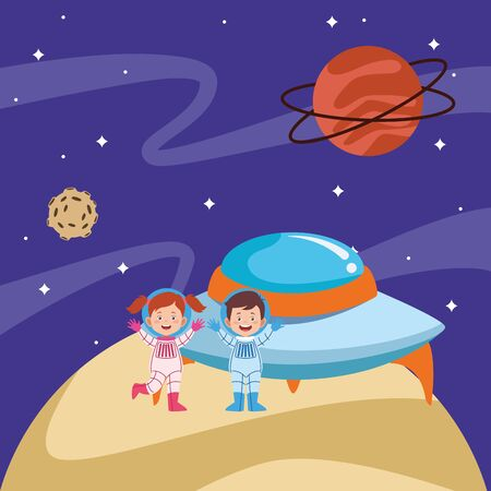cartoon astronauts kids and flying saucer in the space with planets, colorful design. vector illustration Ilustracja