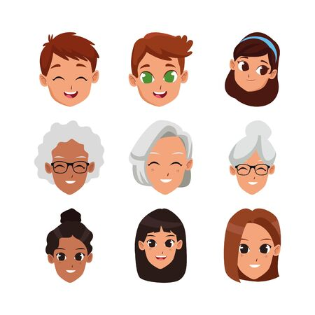cartoon women and kids faces icon set over white background, vector illustration
