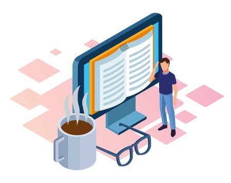 man standing and computer with book on screen, coffee mug and glasses over white background, isometric and colorful design, vector illustration Ilustracja
