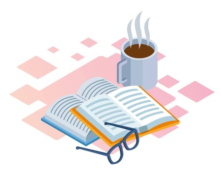 books, glasses and hot coffee mug over white background, isometric and colorful design, vector illustration