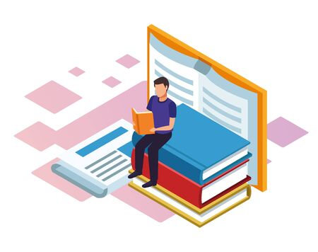 man reading a book with big books around over white background, colorful isometric design, vector illustration