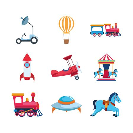 space and carousel vehicles icon set over white background, vector illustration