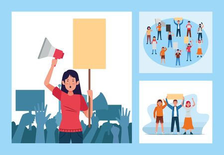 set of protesting people with banners and megaphones scenes vector illustration